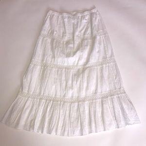 Michael KORS Boho Long White Skirt, W/Embroidery